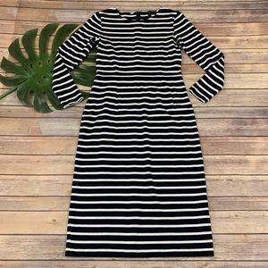 J.Crew navy blue and white striped sheath dress